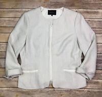 $948 Lafayette 148 New York Women's 14 Cream Knit Full Zip Stretch Blazer Jacket