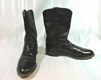 JUSTIN 3133 Black LEATHER Kidskin Western Roper Boots Size 8 D so NICE