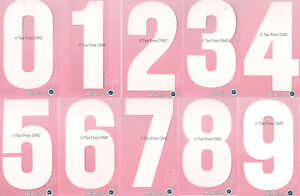 Hemline Numbers White 0 1 2 3 4 5 6 7 8 9 Iron On Motif Sportswear New