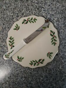 Lenox China Holiday Cheese Tray with Serving Knife