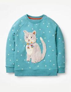 Ex Mini Boden Fluffy Friends Rare HTF Cat Applique Sweatshirts 2-12Yrs