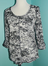 Michael Stars T Shirt Burnout Top Long Roll Up Sleeve One Size Gray Scoop Neck