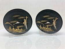 More details for vintage chinese oriental japanese pair small dishes china volcano marked rare