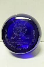 CZECH SENIOR GOLF TROPHY BLUE ART GLASS PAPER WEIGHT KARLOVY VARY