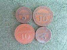 Stoomvaart Maatschappij Nederland, boordgeld 2x 5 en 2x 10 cent, 16/20 mm Brons