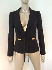 Roberto Cavalli Black Wool Gabardine Peak Lapel Blazer Jacket Gold Belt Size 42