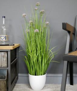 Artificial Large Grass Purple Allium Flowers Faux House Plant Potted White Pot