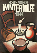 Original Vintage Poster Winterhilfe 1944 Candle Table Swiss Poverty Aid Charity