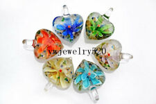 Wholesale Lots 12Pcs Heart Murano Lampwork Glass Beads Pendant Fit necklace FREE