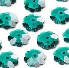 2 Swarovski Crystal 12mm Marguerite Lochrose Flower Rondelle Beads w/Center Hole