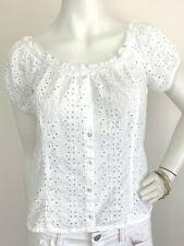 Eyelet Lace Peasant Blouse Button Top Cotton Off Shoulder Crop White Pinkie S-M