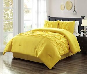 Grand Linen 3 Piece Queen Size Solid Yellow Double-Needle Stitch Puckered Pinch