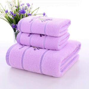 Bath towel set purple soft hand towel cotton face towel 3 piece set