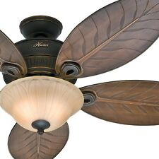 "Hunter Fan 54"" Outdoor Ceiling Fan with Bowl Light Kit, 5 Palm Leaf Blades"