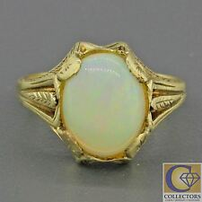1880s Antique Victorian 14k Solid Yellow Gold 11mm White Light Opal Band Ring