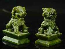 Rare A pair 100% China natural jade hand-carved statues of pixiu dragon