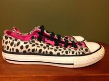 Converse All Star Sneakers Low-Top Black White Pink Cheetah Junior Sz 1 GymShoes
