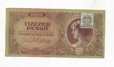 HUNGARY 10000 PENGO 1945 BANKNOTE W/REVENUE STAMP