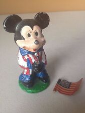 Vintage Cast Iron Patriotic MICKEY MOUSE FIGURE with American Flag Paperweight
