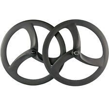 Tri Spoke 50mm Clincher Carbon Wheels Matte Carbon Road Wheelset 3 Spoke Wheel