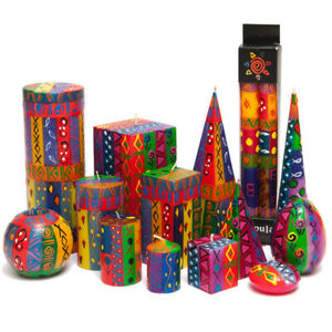 Kapula Fair Trade South African Hand Painted Candles ' Multi Coloured Ethnic '