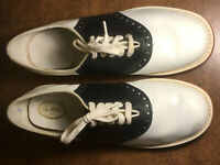 Vintage Step Master Leather Uppers Black & White Girls' Saddle Shoes made in USA