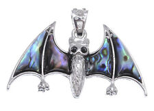 Faux Abalone Cute Spooky Flying Bat Silver Tone Fashion Necklace Pendant Jewelry