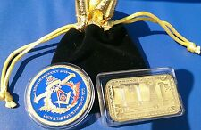 2x Masonic Symbol Challenge Coin & Freemason Bullion Bar Gold Plated. N 001-010