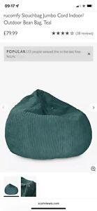 Jumbo Cord Teal Beanbag Chair Brand New