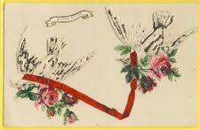 cpa Dos 1900 BONNE ANNEE à Mlle Marie CHACATON de LYON Decoupis Collage Ruban