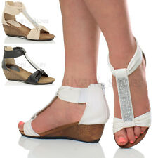 Sandali e scarpe plateau, zeppe casual con tacco medio (3,9-7 cm) per il mare da donna