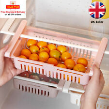 Kitchen Freezer Fridge Space Saver Storage Box Organiser Holder Shelf Rack White