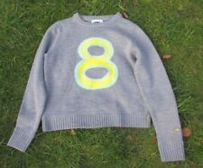 Bella Freud Cute Cropped Oversize Grey Wool Number 8 Jumper - Size XS - RRP £285