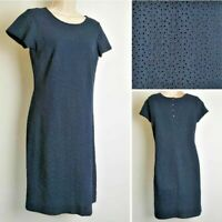 The White Company Navy Blue Laser Cut Short Sleeve Cotton Dress size 8