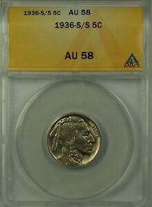 1936-S/S Buffalo Nickel 5c Coin ANACS AU-58 Re-Punched Mint Mark Better Coin