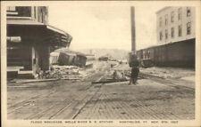 Montpelier VT Wells River RR Train Station Dlood Wreckage 1927 Postcard