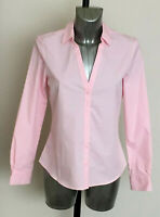 M&S Size 10 12 Pink Cotton Rich Long Sleeve Semi Fitted Work Office Blouse Shirt