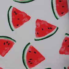 Sweatshirt knit jersey stretch cotton fabric watermelon WHITE French Terry