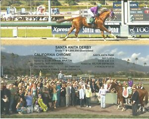 "2014 - CALIFORNIA CHROME - 2 Photo Santa Anita Derby Composite - 10"" x 8"""