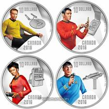 Canada 2016 Star Trek 50th 4 Coin Crew Members $10 Silver Proof Set Kirk Spock