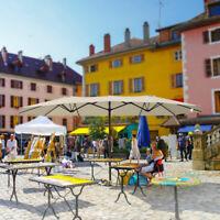 15 FT Double-Sided Patio Umbrella Outdoor Garden Umbrella Large Market Sun Shade