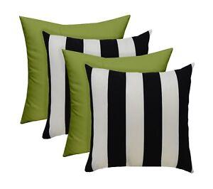 """SET OF 4 - Outdoor Black/White Stripe and Kiwi Green Pillows - 17"""" x 17"""""""