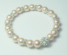 Funkelndes Perlen Armband creme  19cm  Strassperle Strass Rondelle NEU