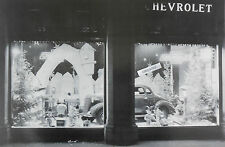 "Chevrolet 1938 Dealer Showroom window at Xmas 12 x 18"" Black & White Picture"