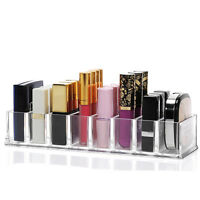 Women's Clear Acrylic 8 Slot Lipstick Holder Cosmetic Makeup Organizer Box Case