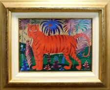 """Yuri Gorbachev """"Red Tiger"""" Original Oil Painting Canvas Russia with custom frame"""
