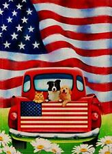 Dyrenson Decorative Outdoor 4th of July Dog Flowers 4th of July Dog Red Truck