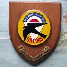 Old RAF Royal Air Force Falcons Parachute Squadron Station Crest Shield Plaque