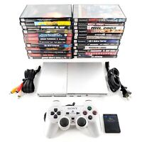 Sony PlayStation 2 Slim Silver Console Bundle Lot w/ 24 Games Tested Works READ