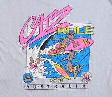 VINTAGE T SHIRT 80's Catz Australia SURF Cat Dog NEON Surfers BOARD Skate EUC